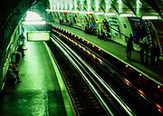 Cite underground train rail metro station, Paris, France, 1987 Cité station Paris Métro