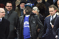 New Everton signing Oumar Niasse takes his seat in the stand to watch the game. Barclays Premier League match, Everton v Newcastle United at Goodison Park in Liverpool on Wednesday 3rd February 2016.<br /> pic by Chris Stading, Andrew Orchard sports photography.