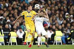 (l-r) Mario Mandzukic of Juventus FC, Daniel Carvajal of Real Madrid during the UEFA Champions League quarter final match between Real Madrid and Juventus FC at the Santiago Bernabeu stadium on April 11, 2018 in Madrid, Spain