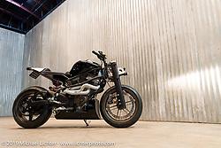 Steve Jones' (Jonz Customs) Buell XB12 in a handmade trellis frame and girder front on set-up day at the Handbuilt Motorcycle Show. Austin, TX. April 9, 2015.  Photography ©2015 Michael Lichter.
