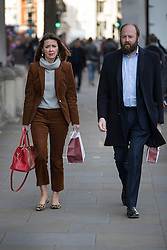© Licensed to London News Pictures. 03/11/2016. London, UK. Downing Street joint chiefs of staff Fiona Hill and Nick Timothy walk along Whitehall. Earlier a High Court ruling said that the government must consult MPs before triggering Article 50. Photo credit: Peter Macdiarmid/LNP