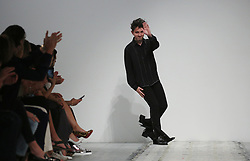Designer Daniel W. Fletcher acknowledges the audience following the London Fashion Week Men's SS19 show at the BFC Showspace, London. PRESS ASSOCIATION. Picture date: Saturday June 9, 2018. Photo credit should read: Isabel Infantes/PA Images