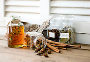Still life of herbs and spices. Cinnamon, rosehip, bayleaf