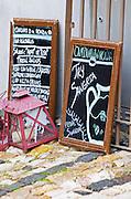 Restaurant sign saying Try Sangria. Lisbon, Portugal