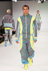 © Licensed to London News Pictures. 01/06/2015. London, UK. Collection by Ellen Delafield. Fashion show of the Manchester School of Art at Graduate Fashion Week 2015. Graduate Fashion Week takes place from 30 May to 2 June 2015 at the Old Truman Brewery, Brick Lane. Photo credit : Bettina Strenske/LNP
