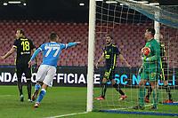 Esultanza Gol di Omar El Kaddouri Napoli, goal celebration   <br /> Napoli 16-12-2015 Stadio San Paolo<br /> Football Calcio Coppa Italia Ottavi di Finale. Napoli - Verona<br /> Foto Cesare Purini / Insidefoto