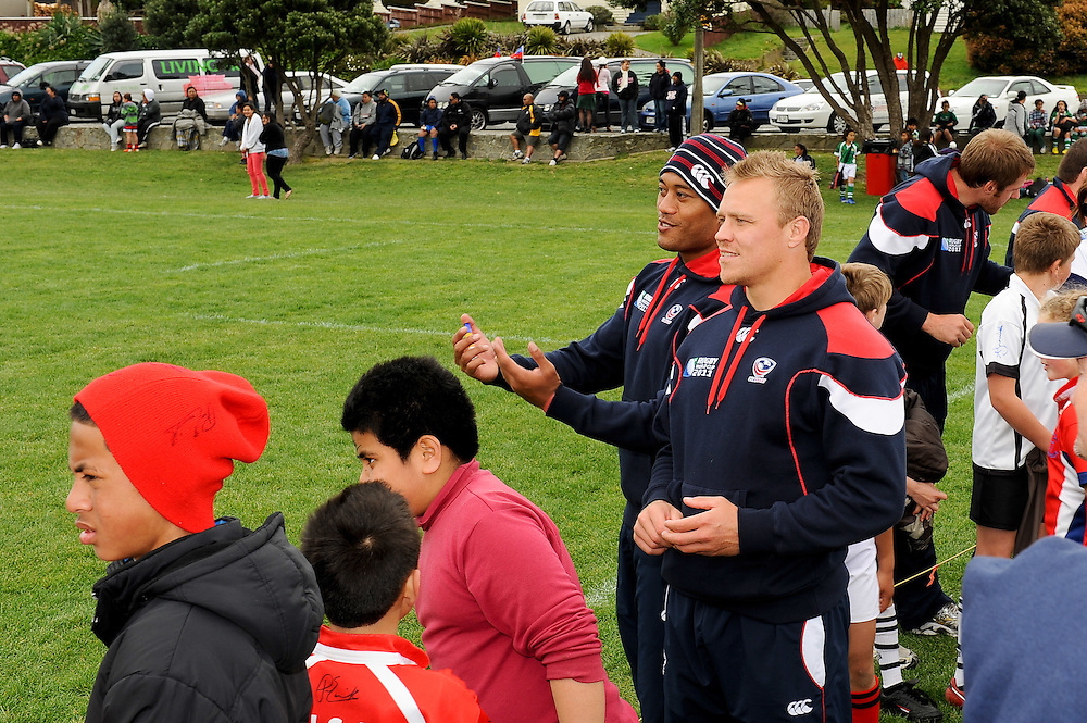 USA rugby team with St. Pius X school rugby team at the Porirua Rugby Nations Tournament, Onepoto Park. September 22, 2011...Photo by Mark Tantrum | www.marktantrum.com