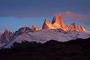 Sunrise light illuminates Mt. Fitzroy in the Southern Andes, Patagonia, Argentina, South America