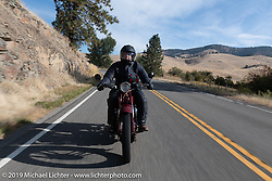 Peter Arundel on his 1928 Indian Chief came from Australia to be on the Motorcycle Cannonball coast to coast vintage run. Stage 13 (254 miles) Kalispell, MT to Spokane, WA. Friday September 21, 2018. Photography ©2018 Michael Lichter.