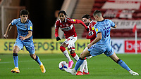 Middlesbrough's Patrick Roberts plays a ball past Coventry City's Dominic Hyam<br /> <br /> Photographer Alex Dodd/CameraSport<br /> <br /> The EFL Sky Bet Championship - Middlesbrough v Coventry City - Tuesday 27th October 2020 - Riverside Stadium - Middlesbrough<br /> <br /> World Copyright © 2020 CameraSport. All rights reserved. 43 Linden Ave. Countesthorpe. Leicester. England. LE8 5PG - Tel: +44 (0) 116 277 4147 - admin@camerasport.com - www.camerasport.com