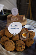 Scotch Eggs on sale at Maltby Street Market on 17th October 2015 in London, United Kingdom. Opening in 2010, Maltby Street is an artisan food market under the railways arches in Bermondsey, London.