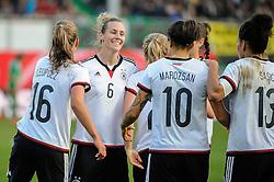 08.04.2015, Stadion am Laubenweg, Fuerth, GER, FS Vorbereitung, Deutschland vs Brasilien, im Bild Torjubel der Deutschen Mannschaft, vl-r: n-r Melanie Leupolz (Deutschland) 16 Simone Laudehr (Deutschland) 6 Dzsenifer Marozsan (Deutschland) 10 und Celia Sasic (Deutschland) 13 // during the International Womens Football Match between Germany and Brasil at the Stadion am Laubenweg in Fuerth, Germany on 2015/04/08. EXPA Pictures © 2015, PhotoCredit: EXPA/ Eibner-Pressefoto/ Schreyer<br /> <br /> *****ATTENTION - OUT of GER*****