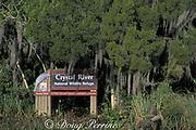 sign on Banana Island, King's Bay, Florida, marking<br /> Crystal River National Wildlife Refuge