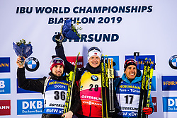 March 9, 2019 - –Stersund, Sweden - 190309 Alexander Loginov of Russia, Johannes Thingnes Bö of Norway and Quentin Fillon Maillet of France celebrate at the podium after the Men's 10 KM sprint during the IBU World Championships Biathlon on March 9, 2019 in Östersund..Photo: Petter Arvidson / BILDBYRÃ…N / kod PA / 92252 (Credit Image: © Petter Arvidson/Bildbyran via ZUMA Press)