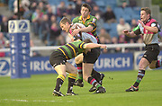 Twickenham, Surrey. England, UK.,02.05.2003,  Will Greenwood, tackled by John Leslie and Paul Grayson,   Zurich Premiership Rugby match, Harlequins v Northampton Saints, played at the Stoop Memorial Ground, [Mandatory Credit:Peter Spurrier/ Intersport Images]