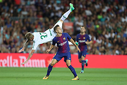 August 7, 2017 - Barcelona, Spain - Denis Suarez of FC Barcelona duels for the ball with Moises of Chapecoense during the 2017 Joan Gamper Trophy football match between FC Barcelona and Chapecoense on August 7, 2017 at Camp Nou stadium in Barcelona, Spain. (Credit Image: © Manuel Blondeau via ZUMA Wire)