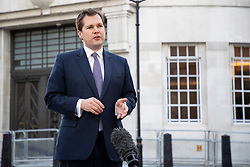 © Licensed to London News Pictures. 11/10/2020. London, UK. Secretary of State for Housing, Communities and Local Government Robert Jenrick speaks to the media outside the BBC. Later he will appear on the Andrew Marr Show. Photo credit: George Cracknell Wright/LNP