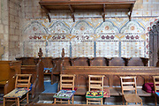 Church of Saint Mary, Berkeley, Gloucestershire, England, UK painted walls choir stalls