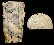 Fragmentary Ivory box decorated with a cupid and other companions of the wine-god Bacchus. Roman, 3rd century AD