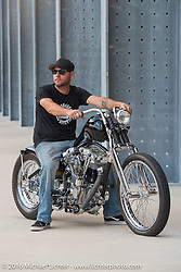 Mike Rabideau on his custom Shovelhead at the Harley-Davidson Museum, which was one of the official venues for the Milwaukee Rally. Milwaukee, WI, USA. Sunday, September 4, 2016. Photography ©2016 Michael Lichter.