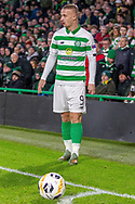 Leigh Griffiths (#9) of Celtic stands over the ball during the Europa League match between Celtic and Rennes at Celtic Park, Glasgow, Scotland on 28 November 2019.