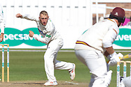 Callum Parkinson bowling during the Specsavers County Champ Div 2 match between Leicestershire County Cricket Club and Northamptonshire County Cricket Club at the Fischer County Ground, Grace Road, Leicester, United Kingdom on 11 September 2019.