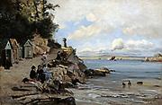 Douarnenez - Women's Bathing Place, Saturday', 1876. Oil on canvas.  Emmanuel Lansyer (1835-1893) French landscape painter.  France Brittany Bathing Hut Rock  Sea Sky Cloud
