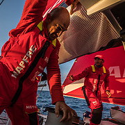 Leg Zero, Prologue, Tuesday Oct. 10  Position Report on-board MAPFRE. Photo by Jen Edney/Volvo Ocean Race. 11 October, 2017