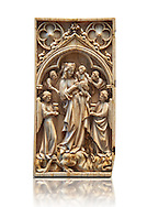 Medieval Gothic ivory diptych depicting the Virgin and child,  made in Paris in the first quarter of the 14th century.  inv 11097, The Louvre Museum, Paris.  .<br /> <br /> If you prefer you can also buy from our ALAMY PHOTO LIBRARY  Collection visit : https://www.alamy.com/portfolio/paul-williams-funkystock/gothic-art-antiquities.html  Type -   louvre     - into the LOWER SEARCH WITHIN GALLERY box. Refine search by adding background colour, place, museum etc<br /> <br /> Visit our MEDIEVAL ART PHOTO COLLECTIONS for more   photos  to download or buy as prints https://funkystock.photoshelter.com/gallery-collection/Medieval-Gothic-Art-Antiquities-Historic-Sites-Pictures-Images-of/C0000gZ8POl_DCqE