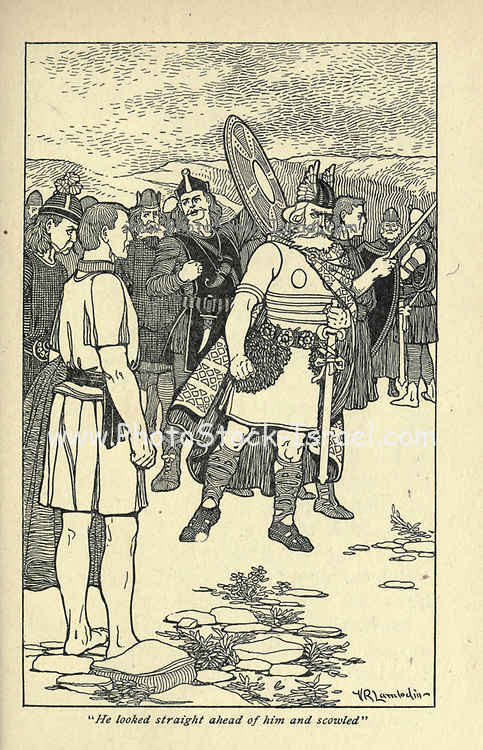 He looked straight ahead of him and scowled From the book ' Viking tales ' by Jennie Hall, Punlished in Chicago by Rand, McNally & co in 1902