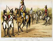 Parisian Municipal Guard, created 1802.   'From Histoire des corps de troupes de la ville de Paris' by Francois Cudet, Paris, 1897. Chromolithograph.