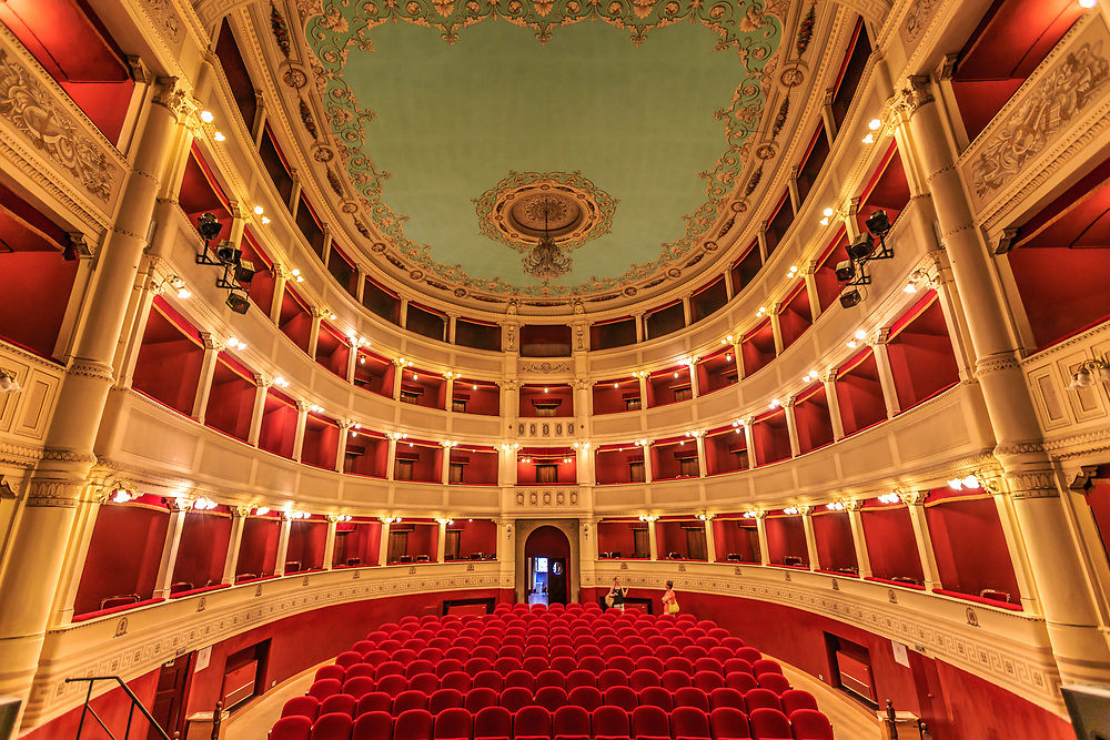 Teatro Signorelli in Cortona, Italy. Built to designs by Carlo Gatteschi in 1854, the Teatro Signorelli has hosted major cultural and theatrical events for over a century now.