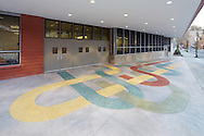 The front entry of the New Settlement Community Center with terrazzo artwork by W. Scott Trimble.