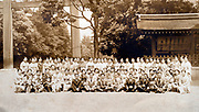large group of people at the Meiji shrine  Torii in Tokyo ca 1940s