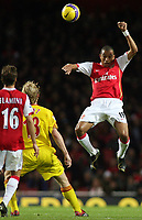 Photo: Paul Thomas.<br /> Arsenal v Liverpool. The Barclays Premiership. 12/11/2006.<br /> <br /> Gilberto of Arsenal wins the ball.