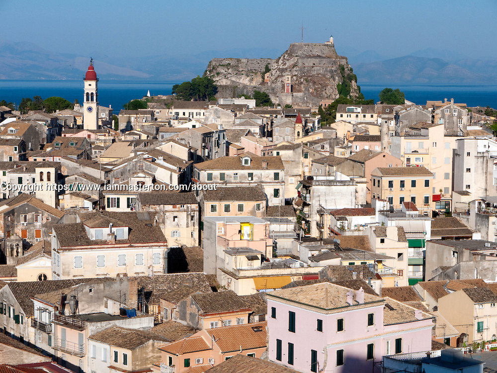View over town of Kerkyra on Corfu Island in Greece
