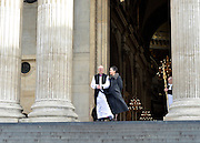 © Licensed to London News Pictures. 04/02/2013. City of London, UK Justin Welby, stands on the steps of St Pauls Cathedral with his wife, Caroline Gillian, in London for the first time as the Archbishop of Canterbury, He takes the title today, 4th February 2013, following formal election by the College of Canons on January 10, Bishop of Durham Justin Welby becomes Archbishop of Canterbury, a title conferred upon him by the Archbishop of York on behalf of his fellow bishops and the wider Church.. Photo credit : Stephen Simpson/LNP