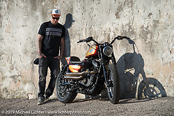Danny Schneider of Hard Nine Choppers in Bern, Switzerland with his just debuted Custom Chrome Europe 2018 Parts Bike at Motor Bike Expo. Verona, Italy. Saturday January 20, 2018. Photography ©2018 Michael Lichter.