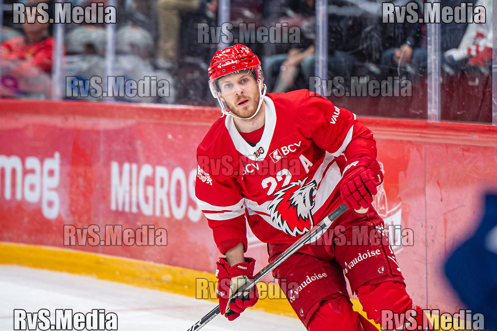 LAUSANNE, SWITZERLAND - OCTOBER 01: Christoph Bertschy #22 of Lausanne HC looks on during the Swiss National League game between Lausanne HC and ZSC Lions at Vaudoise Arena on October 1, 2021 in Lausanne, Switzerland. (Photo by Monika Majer/RvS.Media)