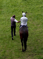 Dee Ex Bee ridden by jockey William Buick walking out ahead of the Longines Sagaro Stakes (Group 3) (A Gold Cup Trial) during Royal Ascot Trials Day at Ascot Racecourse.