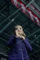 KELOWNA, CANADA - NOVEMBER 5: A fan stands at the glass during warm up between the Medicine Hat Tigers and the Kelowna Rockets on November 5, 2016 at Prospera Place in Kelowna, British Columbia, Canada.  (Photo by Marissa Baecker/Shoot the Breeze)  *** Local Caption ***