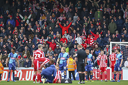 March 9, 2019 - High Wycombe, Buckinghamshire, United Kingdom - Sunderland fans celebrate during a break in play at  the Sky Bet League 1 match between Wycombe Wanderers and Sunderland at Adams Park, High Wycombe, England  on Saturday 9th March 2019. (Credit Image: © Mi News/NurPhoto via ZUMA Press)