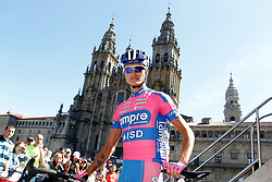 31.08.2012, 13. Etappe, Santiago de Compostella nach Ferrol, ESP, La Vuelta, im Bild Przemyslaw Niemiec passes by the front of the Obradoiro of the Cathedral of Santiago de Compostela // before the La Vuelta, Stage 13 Santiago de Compostella to Ferrol, Spain on 2012/08/31. EXPA Pictures © 2012, PhotoCredit: EXPA/ Alterphotos/ Acero..***** ATTENTION - OUT OF ESP and SUI *****
