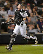 CHICAGO - SEPTEMBER 25:  Zach Collins #38 of the Chicago White Sox catches against the Cleveland Indians on September 25, 2019 at Guaranteed Rate Field in Chicago, Illinois.  (Photo by Ron Vesely)  Subject:   Zach Collins