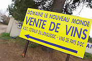 Domaine Le Nouveau Monde. Terrasses de Beziers. Languedoc. France. Europe. Vente de vin - sale of wine.