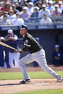 PEORIA, AZ - MARCH 06:  Juan Diaz #85 of the Chicago White Sox bats during the spring training game between the Chicago White Sox and San Diego Padres on March 6, 2015 at Peoria Stadium in Peoria, Arizona. (Photo by Ron Vesely)   Subject:  Juan Diaz