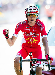 Stage winner Stephane Rossetto crosses the finish line during day four of the Tour de Yorkshire from Halifax to Leeds.