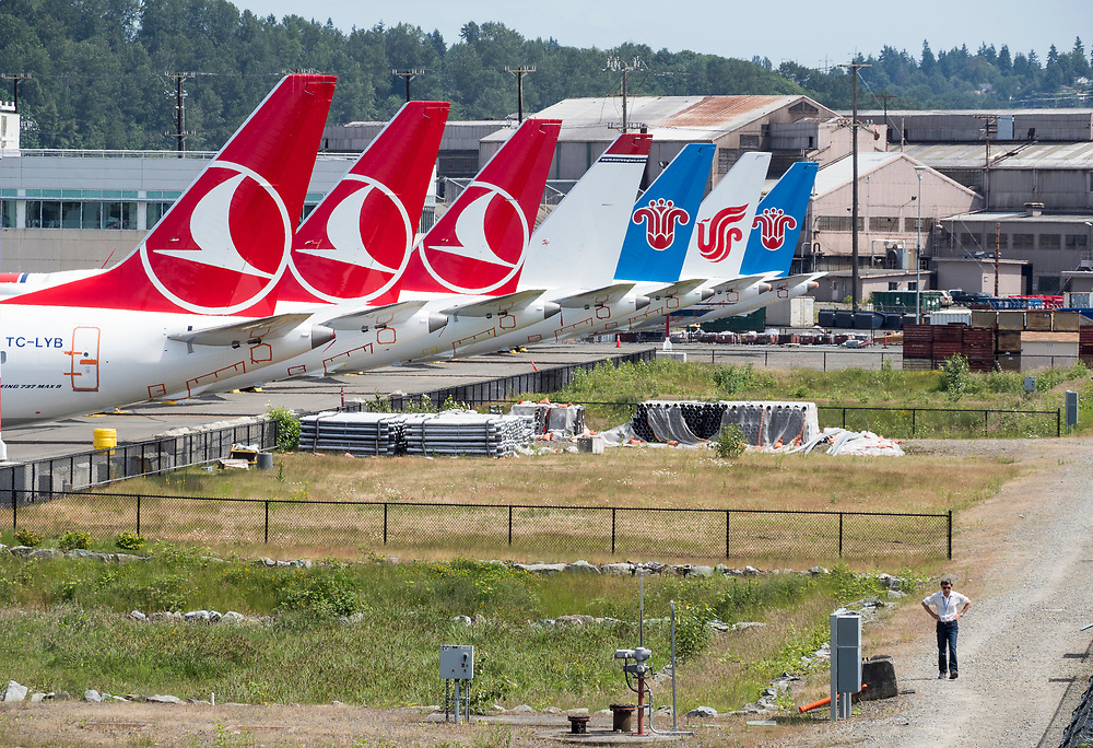 Boeing 737 MAX planes are parked next to Boeing Field in Seattle 06042019, while the plane's grounding is in effect.