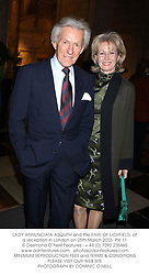 LADY ANNUNCIATA ASQUITH and the EARL OF LICHFIELD, at a reception in London on 25th March 2003.PIK 11