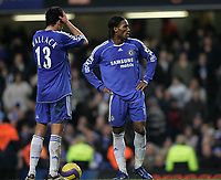 Photo: Lee Earle.<br /> Chelsea v Reading. The Barclays Premiership. 26/12/2006. Chelsea's Michael Ballack (L) and Didier Drogba look dejected after Reading equalised for the second time.